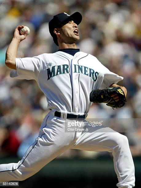 Shigetoshi Hasegawa of the Seattle Mariners pitches against the Oakland Athletics on June 23 2005 at Safeco Field in Seattle Washington The A's...