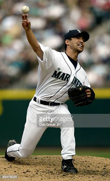 Shigetoshi Hasegawa of the Seattle Mariners pitches against the Chicago White Sox in the ninth inning on August 28 2005 at Safeco Field in Seattle...