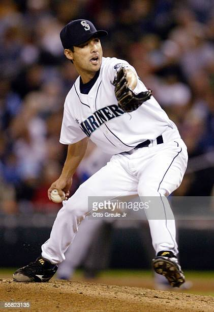 Shigetoshi Hasegawa of the Seattle Mariners pitches against the Texas Rangers on September 28 2005 at Safeco Field in Seattle Washington