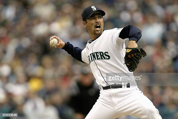 Shigetoshi Hasegawa of the Seattle Mariners pitches during the game with the Texas Rangers on April 9 2005 at Safeco Field in Seattle Washington The...
