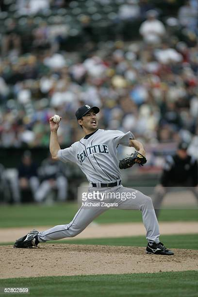 Shigetoshi Hasegawa of the Seattle Mariners pitches during the game against the Oakland Athletics at McAfee Coliseum on April 30 2005 in Oakland...