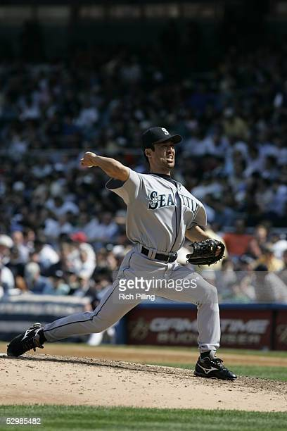 Shigetoshi Hasegawa of the Seattle Mariners pitches during the game against the New York Yankees at Yankee Stadium on May 11 2005 in Bronx New York...