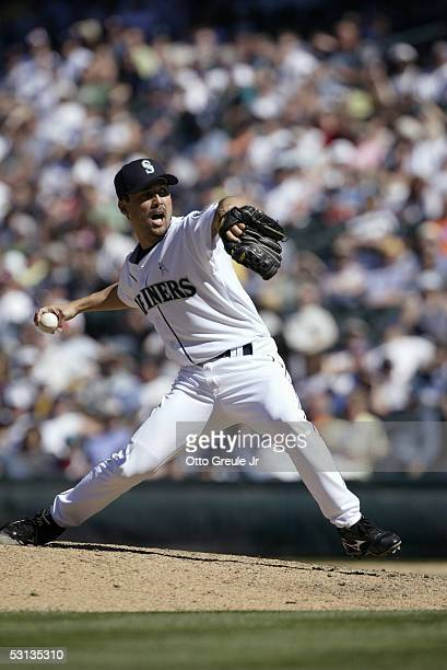 Shigetoshi Hasegawa of the Seattle Mariners pitches during the game with the New York Mets on June 19 2005 at Safeco Field in Seattle Washington The...