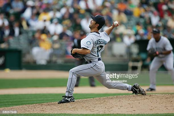 Shigetoshi Hasegawa of the Seattle Mariners pitches during the MLB game against the Oakland Athletics at McAfee Coliseum on April 30 2005 in Oakland...