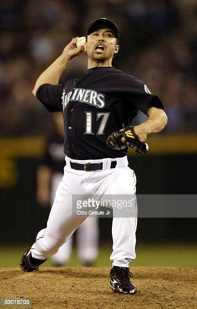 Shigetoshi Hasegawa of the Seattle Mariners pitches in the eighth inning against the Tampa Bay Devil Rays on June 3 2005 at Safeco Field in Seattle...