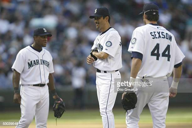 Shigetoshi Hasegawa of the Seattle Mariners stands on the mound against the Los Angeles Angels of Anaheim on May 4 2005 at Safeco Field in Seattle...