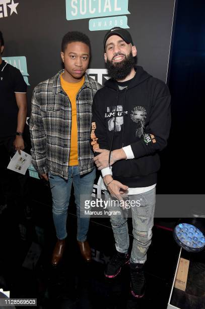 Shiggy and Dan Rue attend the 2019 BET Social Awards at Tyler Perry Studio on March 3 2019 in Atlanta Georgia