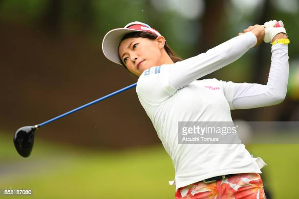 Shiho Kawasaki of Japan hits her tee shot on the 2nd hole during the first round of Stanley Ladies Golf Tournament at the Tomei Country Club on...