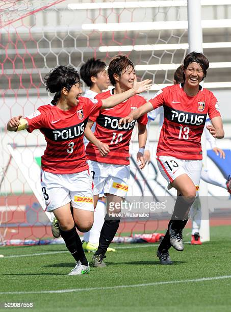 Shiho Kohata of Urawa Red Diamonds Ladies celebrates scoring her team's first goal during the Nadeshiko League match between Urawa Red Diamonds...