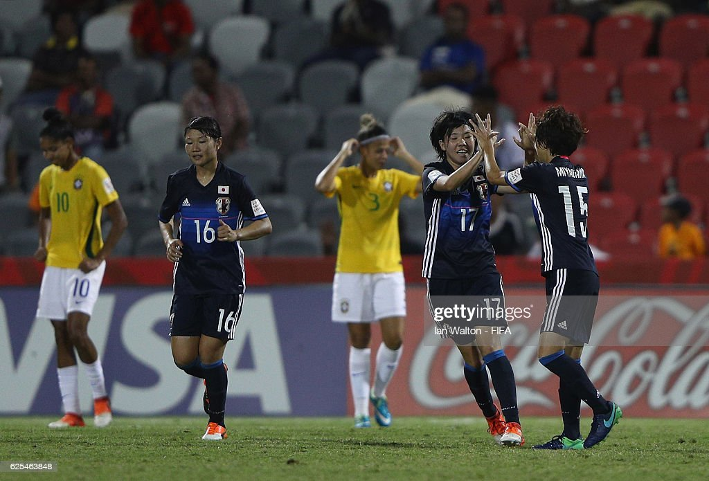 Shiho Matsubara of Japan celebrates scoring a goal during the FIFA U-20 Women's World Cup, Quarter Final match between Japan and Brazil at the National Footbal Stadium on November 24, 2016 in Port Moresby, Papua New Guinea.