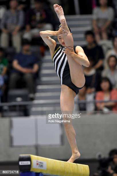 Shiho Nakaji competes on the balance beam during Japan National Gymnastics Apparatus Championships at the Takasaki Arena on June 25 2017 in Takasaki...