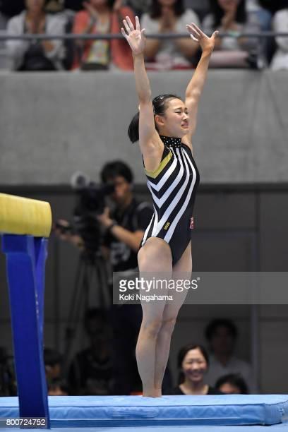 Shiho Nakaji competes on the balance beam during Japan National Gymnastics Apparatus Championships at the Takasaki Arena on June 25 2017 in Takasaki...