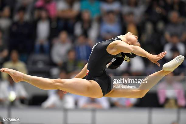 Shiho Nakaji competes on the Floor Exercise during Japan National Gymnastics Apparatus Championships at the Takasaki Arena on June 25 2017 in...