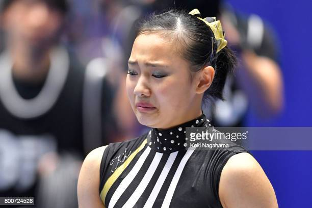 Shiho Nakaji looks dejected after competing on the balance beam during Japan National Gymnastics Apparatus Championships at the Takasaki Arena on...