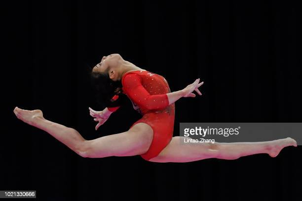 Shiho Nakaji of Japan competes on the Balance Beam during the Artistic Gymnastics of the Women's Floor Exercise at the Jiexpo Hall on day four of the...