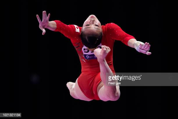 Shiho Nakaji of Japan in action on the Horizontal Bar during on the Balance Beam during the Artistic Gymnastics of the Women's Team Final at the...