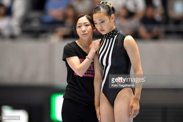 Shiho Nakaji prior to performing on the balance beam during Japan National Gymnastics Apparatus Championships at the Takasaki Arena on June 25 2017...