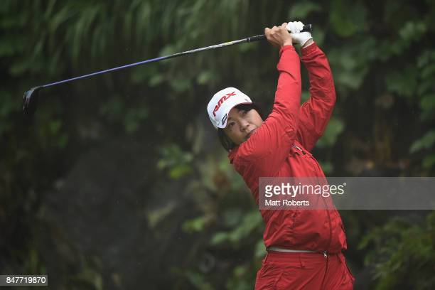 Shiho Oyama of Japan hits her tee shot on the 5th hole during the second round of the Munsingwear Ladies Tokai Classic 2017 at the Shin Minami Aichi...