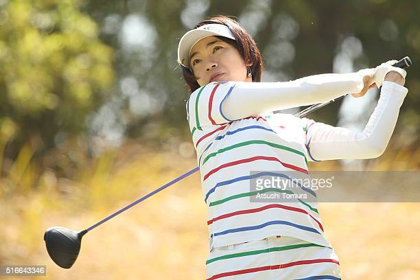 Shiho Oyama of Japan hits her tee shot on the 7th hole during the T-Point Ladies Golf Tournament at the Wakagi Golf Club on March 20, 2016 in Takeo,...