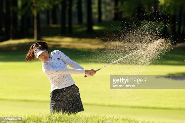 Shiho Oyama of Japan hits out from a bunker on the 1st hole during the second round of the JLPGA Championship Konica Minolta Cup at Shizu Hills...