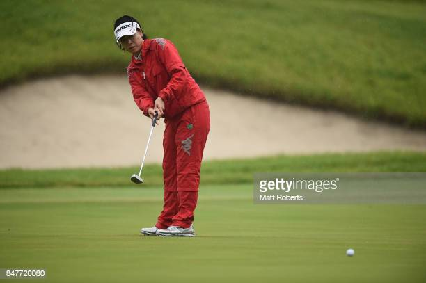 Shiho Oyama of Japan putts on the 18th green during the second round of the Munsingwear Ladies Tokai Classic 2017 at the Shin Minami Aichi Country...