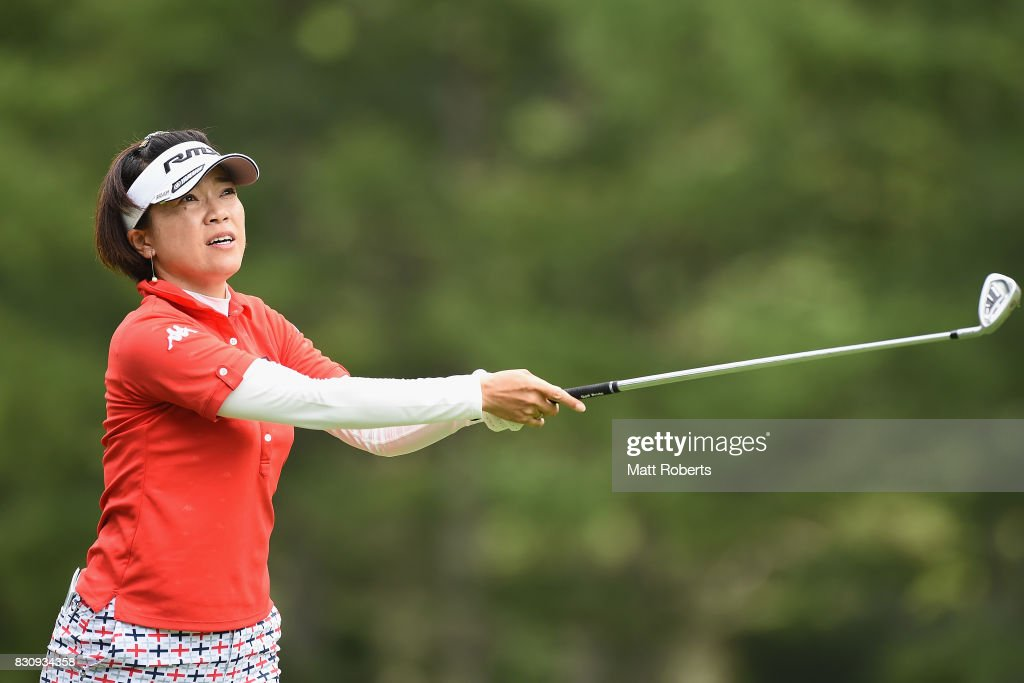 Shiho Oyama watches her second shot on the 14th hole during the final round of the NEC Karuizawa 72 Golf Tournament 2017 at the Karuizawa 72 Golf North Course on August 13, 2017 in Karuizawa, Nagano, Japan.