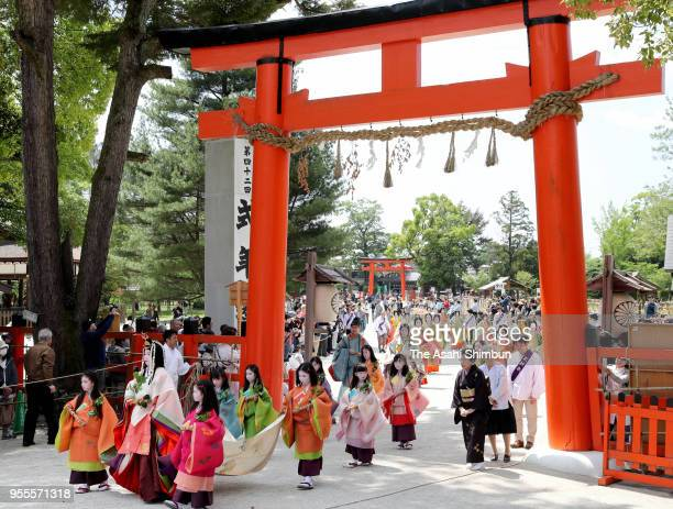 Shiho Sakashita the Saiodai for this year's Aoi Festival attends the 'Misogi no Gi' purification ceremony at Kamigamo Jinja Shrine on May 4 2018 in...