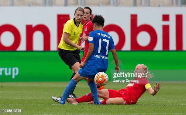 Shiho Shimoyamada of Meppen and Anna Kirschbaum of Cologne battle for the ball during the Second FrauenBundesliga match between SV Meppen and 1 FC...
