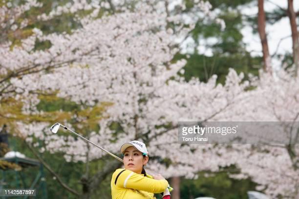 Shiho Toyonaga of Japan hits a tee shot on the 13th hole during the final round of the Hanasaka Ladies Yanmar Golf Tournament at Biwako Country Club...