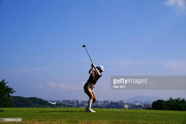 Shiho Toyonaga of Japan hits her tee shot on the 3rd hole during the first round of the rashink x RE SYU RYU/RKB Ladies at the Fukuoka Country Club...