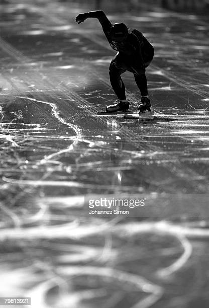 Shihomi Shinya of Japan competes in the 1000m heats during Day 2 of the Essent ISU Speed Skating World Cup at the Ludwig Schwabl Eisstadion on...