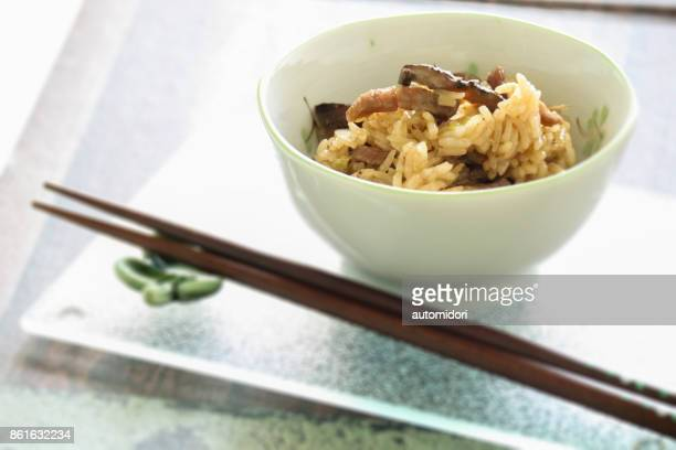 shiitake okowa steamed glutinous rice - shiitake mushroom stock pictures, royalty-free photos & images