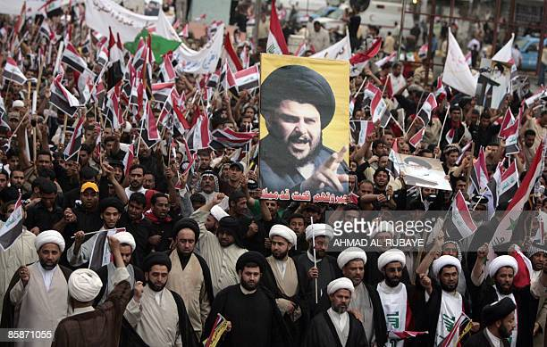 Shiite clerics lead Iraqi supporters of Shiite radical cleric Moqtada alSadr in Baghdad on April 09 2009 Thousands of Sadr supporters took the...