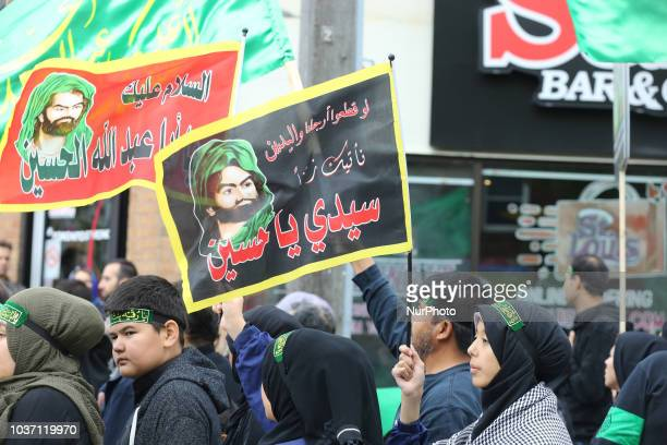 Shiite Muslim mourners take part in a Muharram procession in Toronto Ontario Canada on September 20 2018 Hundreds of Shiite Muslims took to the...