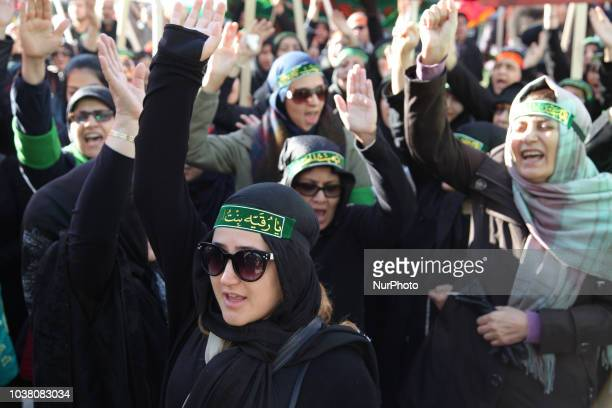 Shiite Muslim mourners take part in a Muharram procession in Toronto Ontario Canada on October 10 2016 Hundreds of Shiite Muslims took to the streets...