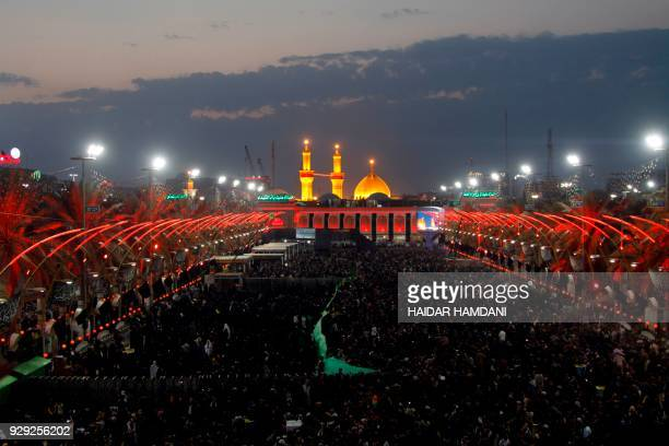 Shiite Muslim pilgrims gather at the Immam Abbas ibn Ali shrine in the southern Iraqi city of Karbala on November 8 2017 ahead of the Arbaeen...
