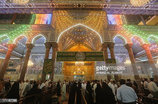 Shiite Muslim pilgrims gather at the shrine of Imam Hussein during preparations for the annual festival of Shaabaniya marking the birth of Imam Mahdi...