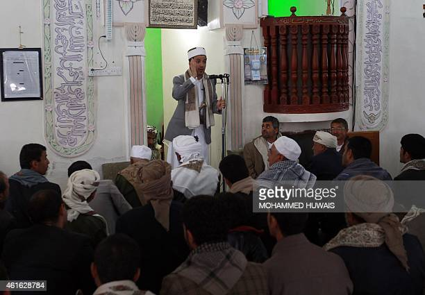 Shiite Muslim Yemeni cleric Sheikh Mohammed alMutawakel delivers the Friday prayer sermon on January 16 2015 at AlHashush mosque in Huthicontrolled...