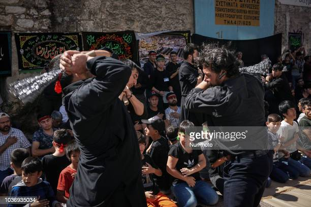 Shiite Muslims during the procession for the annual commemoration Ashura in Pireaus 20 September 2018 Hundreds of Shiite Muslims gathered in Piraeus...