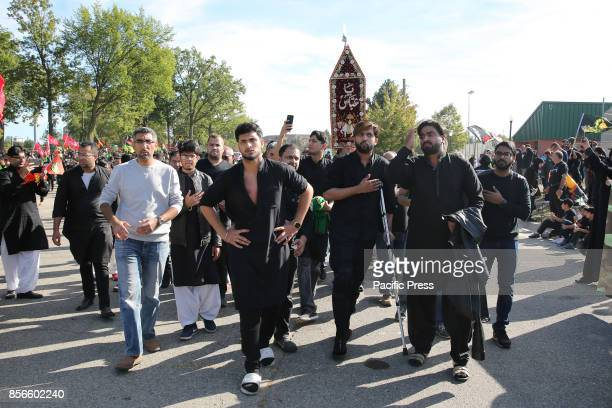 Shiite Muslims participate in a rally on Ashura, the tenth day of Muharram in the Islamic calendar on 1st October 2017 in Dearborn, Michigan.
