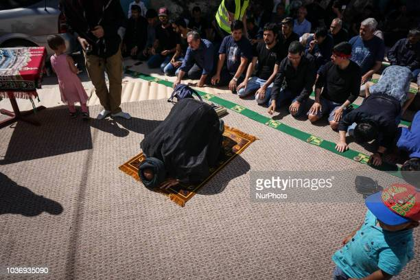 Shiite Muslims praying prior to the annual commemoration Ashura in Pireaus 20 September 2018 Hundreds of Shiite Muslims gathered in Piraeus to...