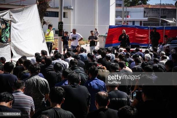 Shiite Muslims praying prior to the annual commemoration of Ashura in Pireaus 20 September 2018 Hundreds of Shiite Muslims gathered in Piraeus to...
