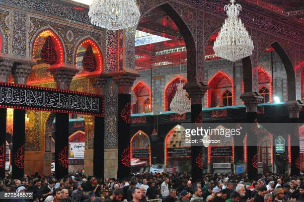 Shiite pilgrims reach the climax of days of marching inside the shrine of Imam Hossein to commemorate arbaeen, the fortieth day after the anniversary...