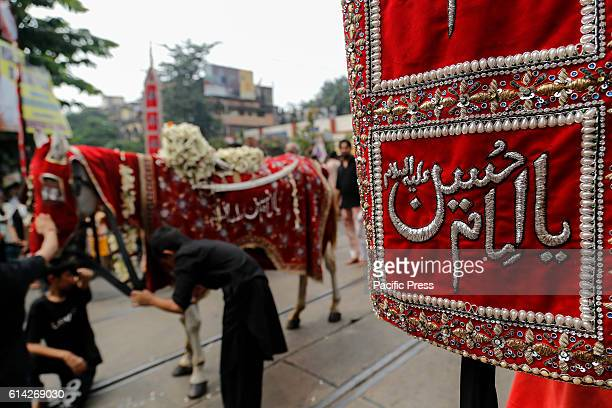 Shiites Muslims join in a religious rally during the celebration of the day Ashura on 10th of Muharram the first month of the Islamic lunar calendar...