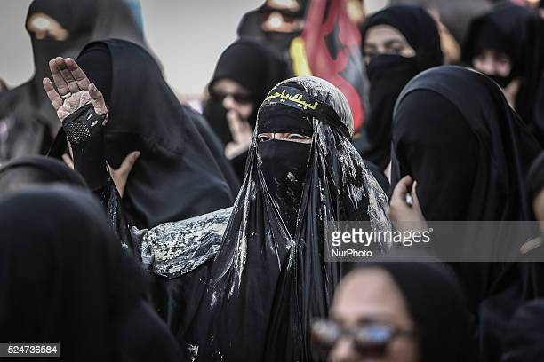Shiites woman take part mourning ceremony on the day of Ashura of Muharram in Manama Capital of Bahrain on October 24 2015 Shiites in the world...