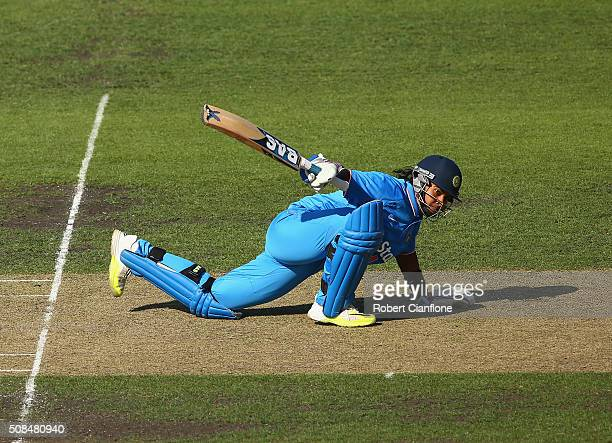 Shika Pandey of India bats during game two of the women's one day international series between Australia and India at Blundstone Arena on February 5...