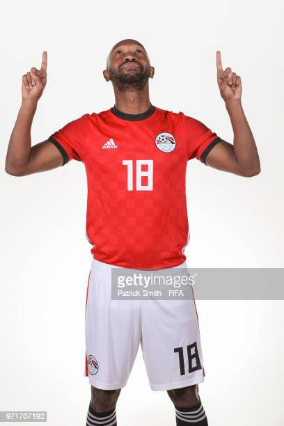 Shikabala of Egypt poses for a portrait during the official FIFA World Cup 2018 portrait session at The Local Hotel on June 11, 2018 in Gronzy,...