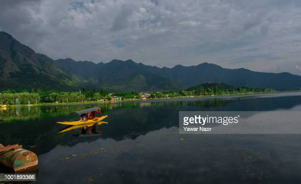 Shikara boat is moored at the Dal lake on July 19 2018 in Srinagar the summer capital of Indian administered Kashmir India Kashmir the Muslim...