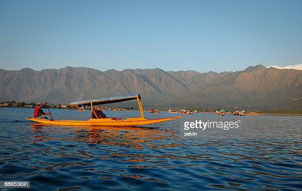 shikara on dal lake - kashmir valley stock photos and pictures