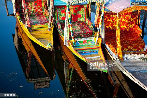 Shikaras at landing on Dal Lake.